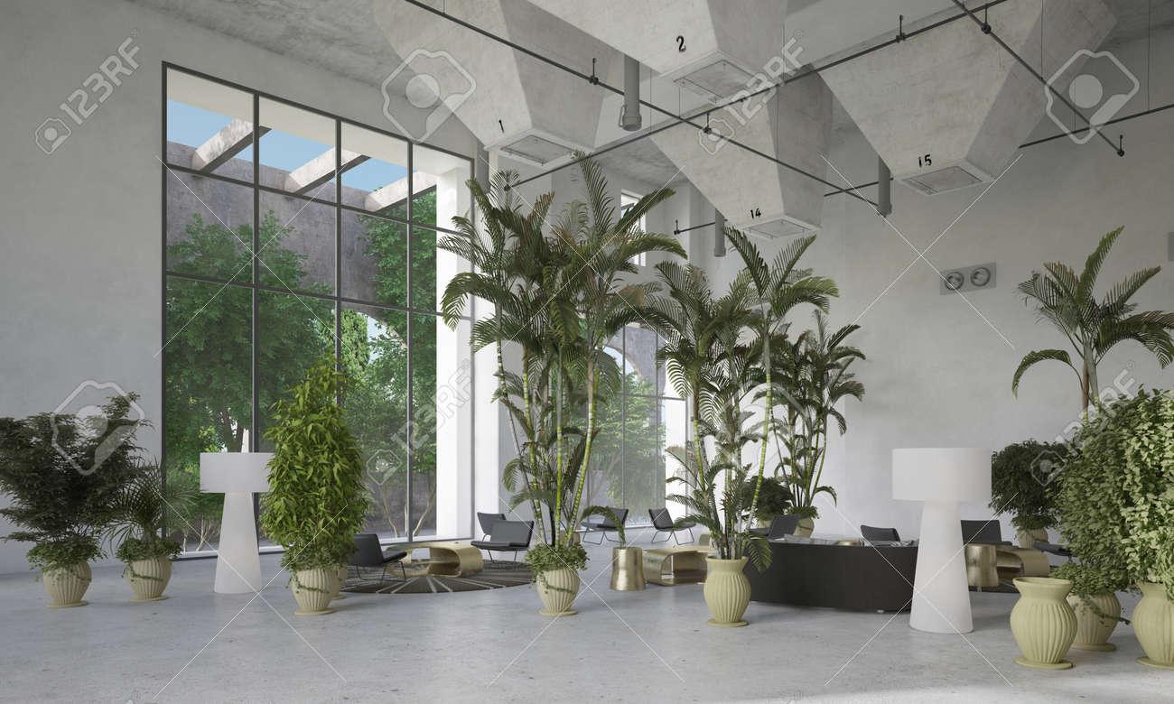 große, moderne designer-doppelvolumen wohnzimmer atrium innenraum, Wohnzimmer