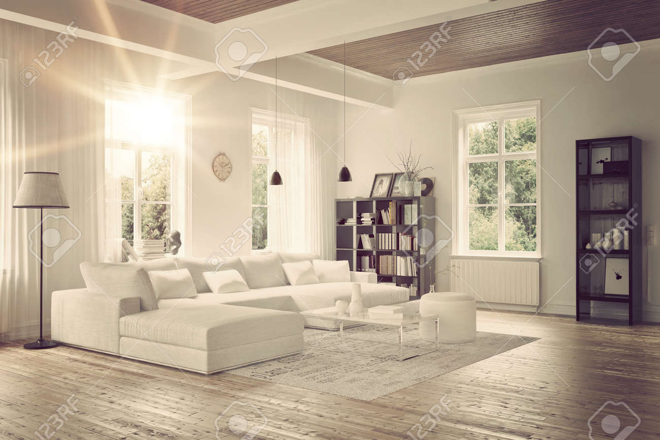 Moderne loft woonkamer interieur met monochrome wit decor, een ...