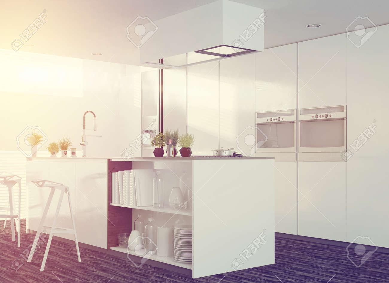 Interior De Cocina Blanco Limpio Moderno Con Un Diseño De Planta ...