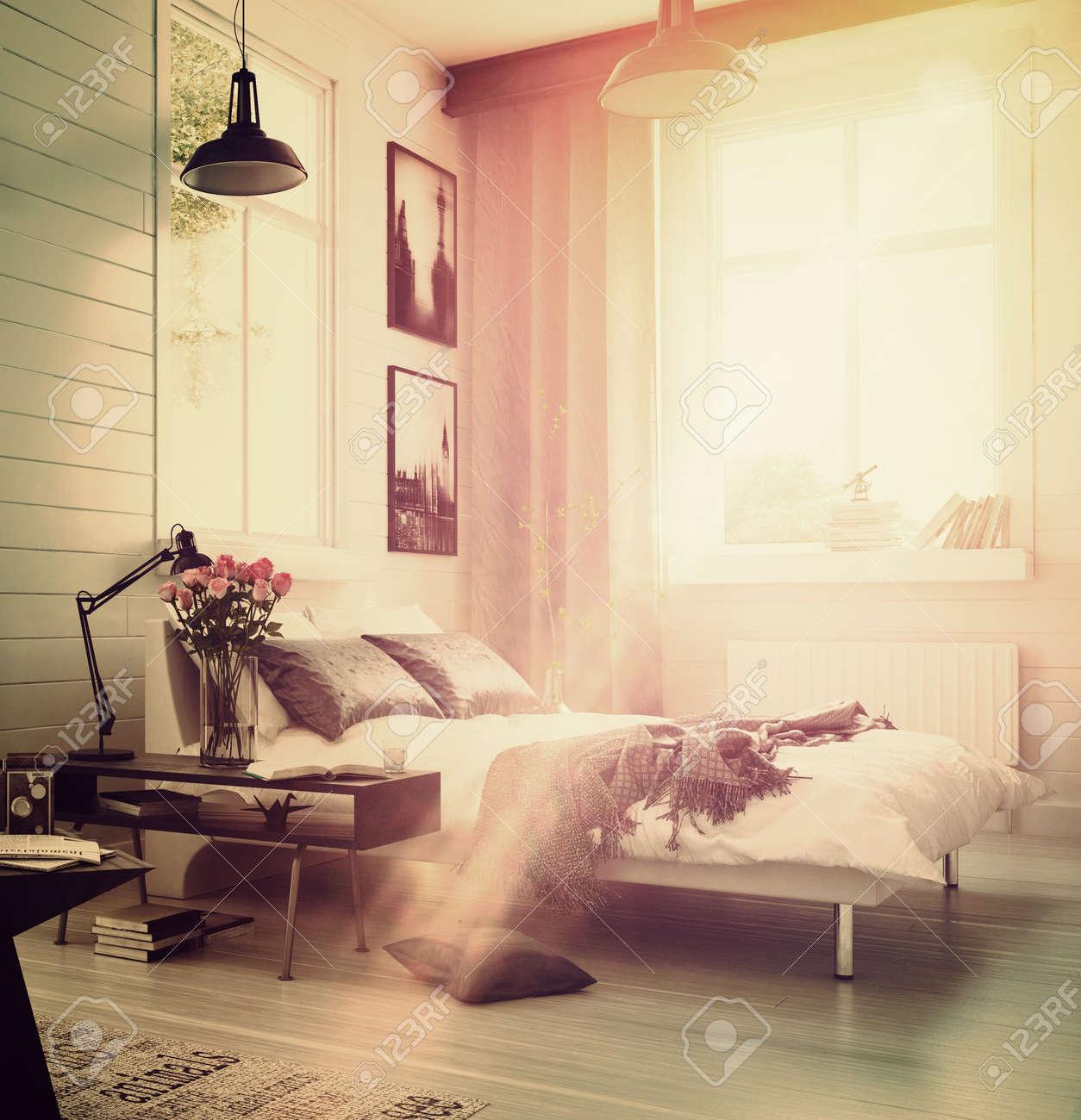 grande interno spazioso camera da letto moderna con un arredamento ... - Divano Letto Matrimoniale Grande