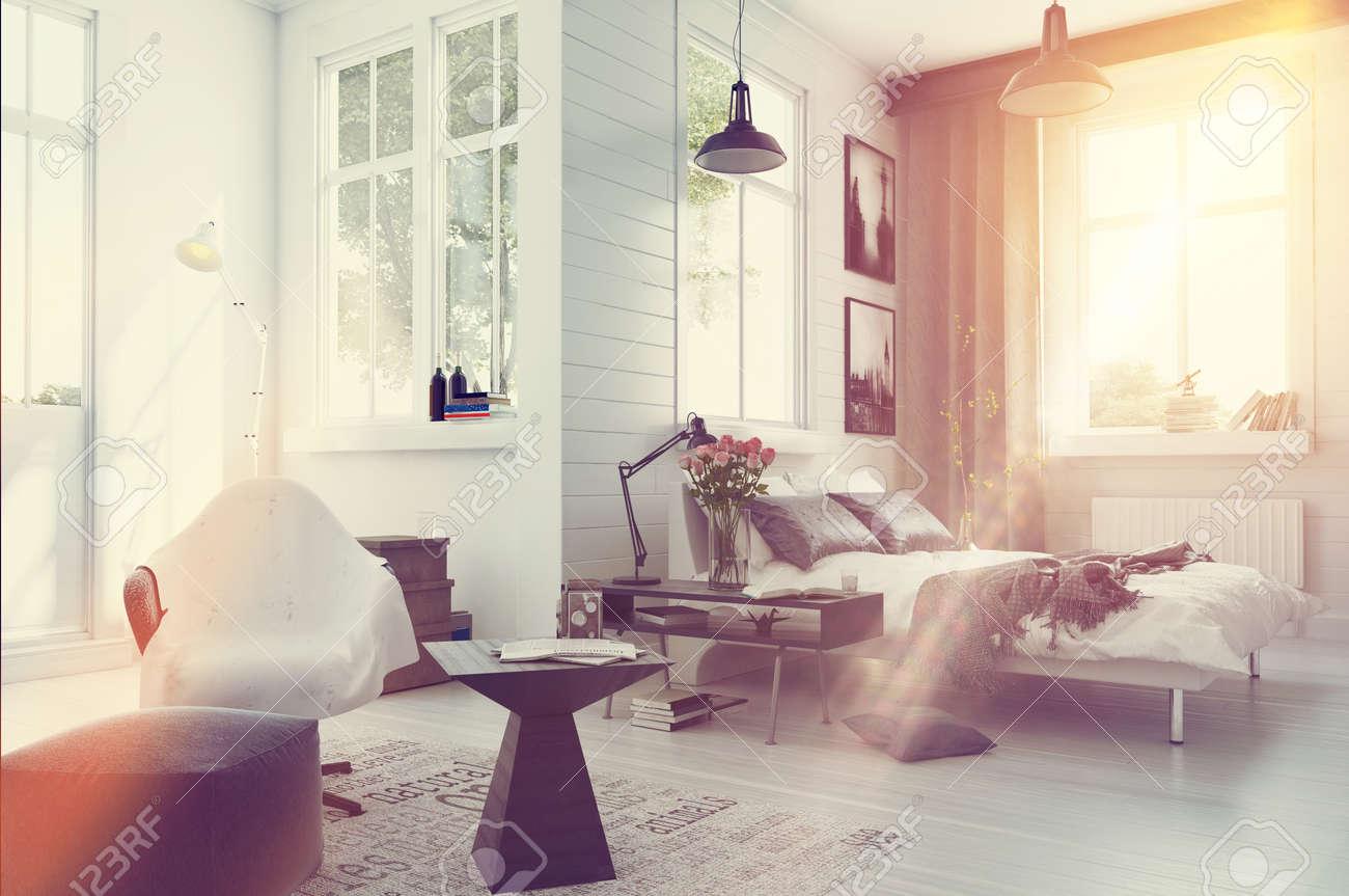 grande interno spazioso camera da letto moderna con un arredamento ... - Camera Da Letto Con Divano