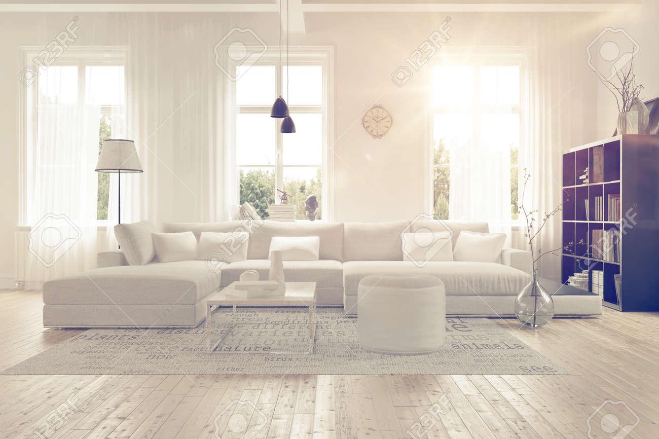 Fantastisch Moderne Großzügige Lounge Oder Wohnzimmer Innenraum Mit Einfarbigen Weißen  Möbeln Und Dekor Unter Drei Große Helle