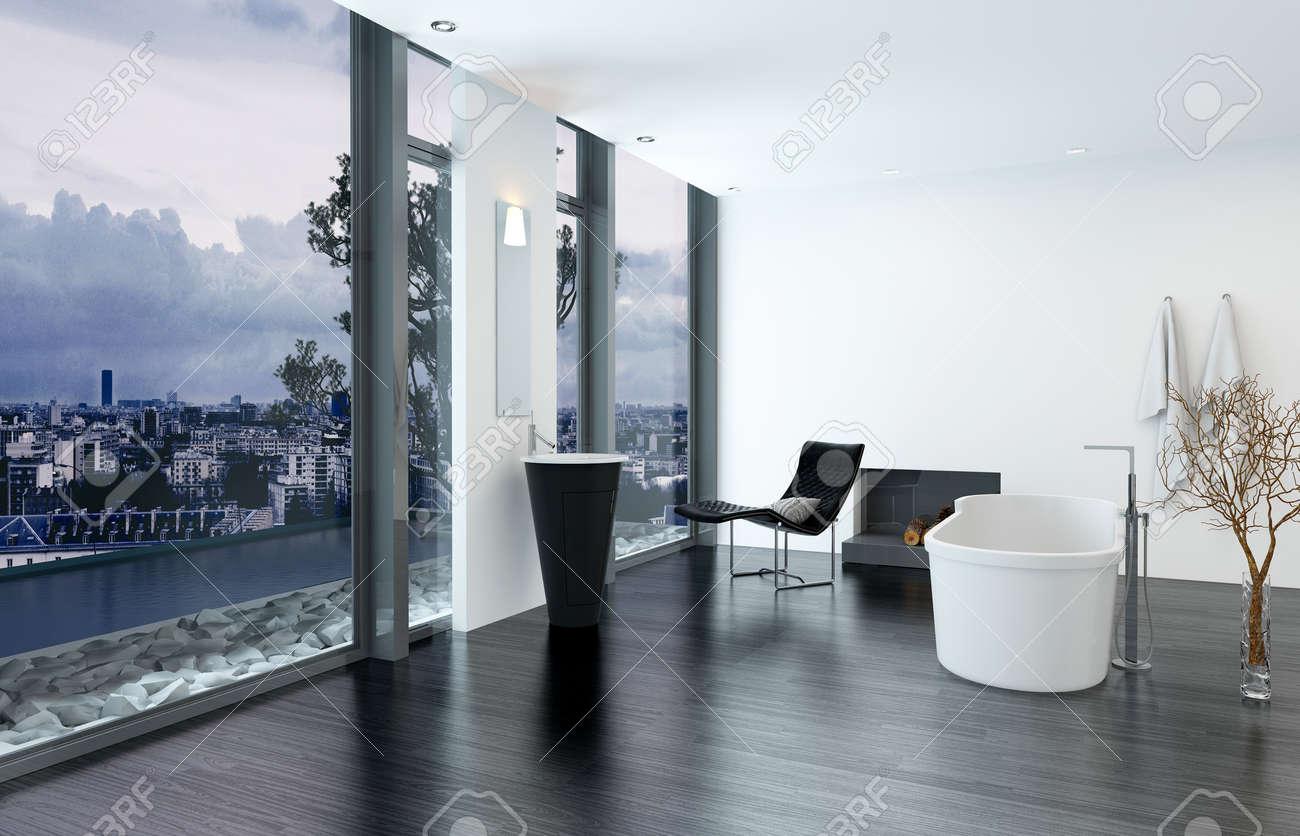Intérieur de salle de bains de luxe contemporaine moderne avec baignoire  autoportante, chaise de salon noir et cheminée. Rendu 3D.