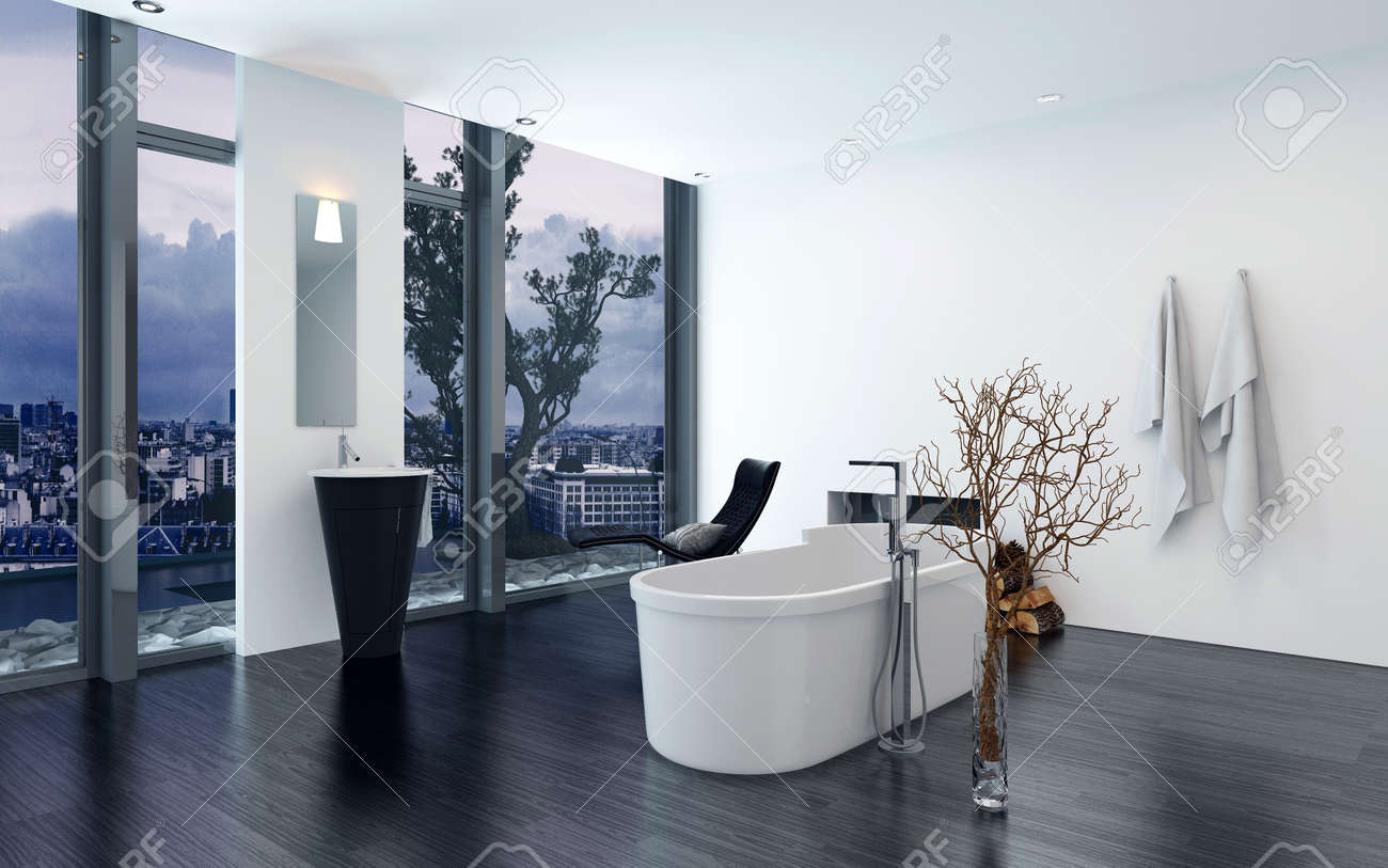 Modern Contemporary Luxury Bathroom Interior With Freestanding Bathtub Black Lounge Chair And Fireplace 3d