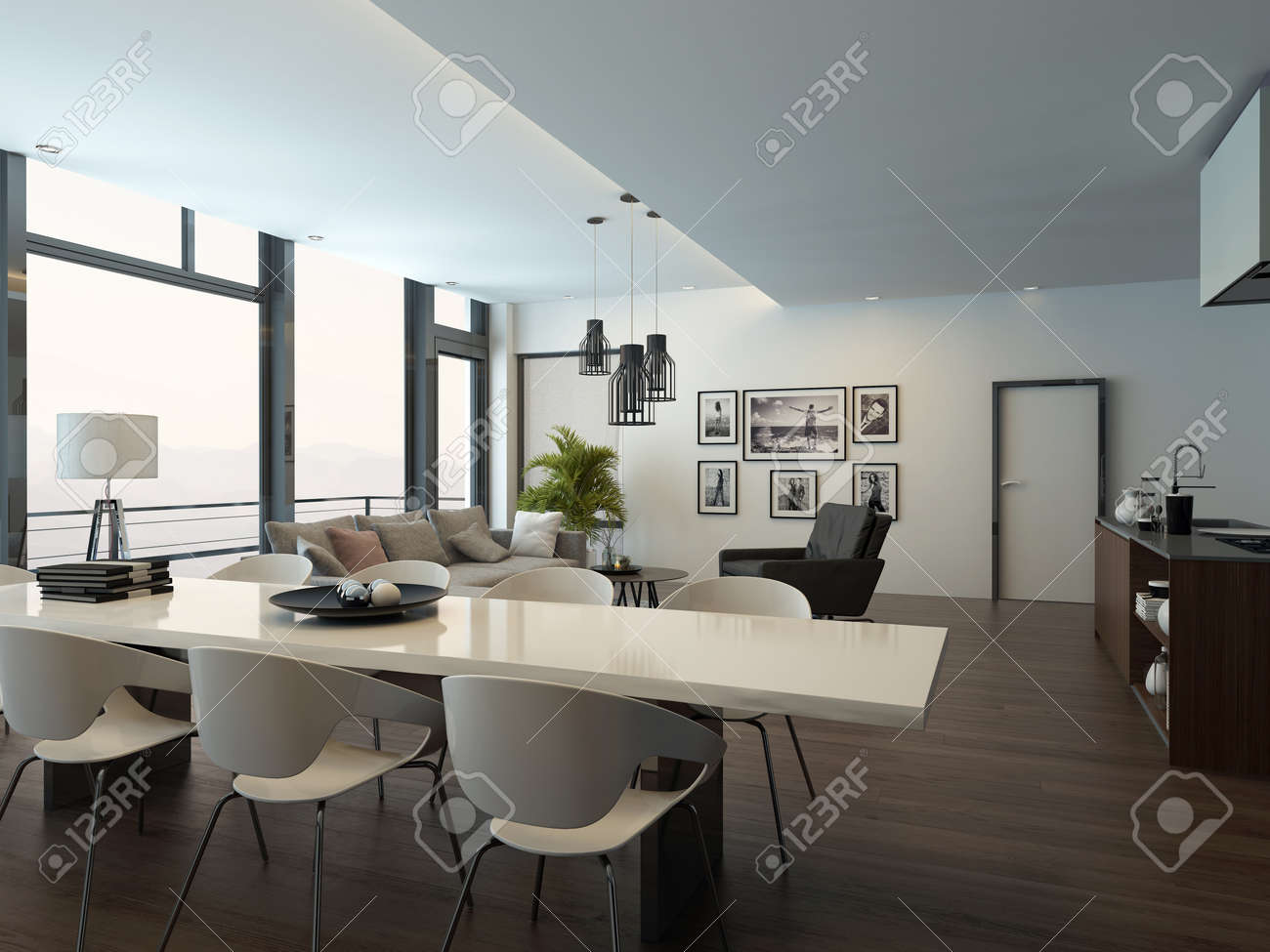 Living Room With Dining Table Luxury Modern Apartment Living Room Interior With Parquet Floor