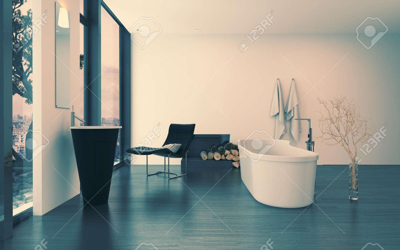Modern Contemporary Luxury Bathroom Interior With Freestanding ...