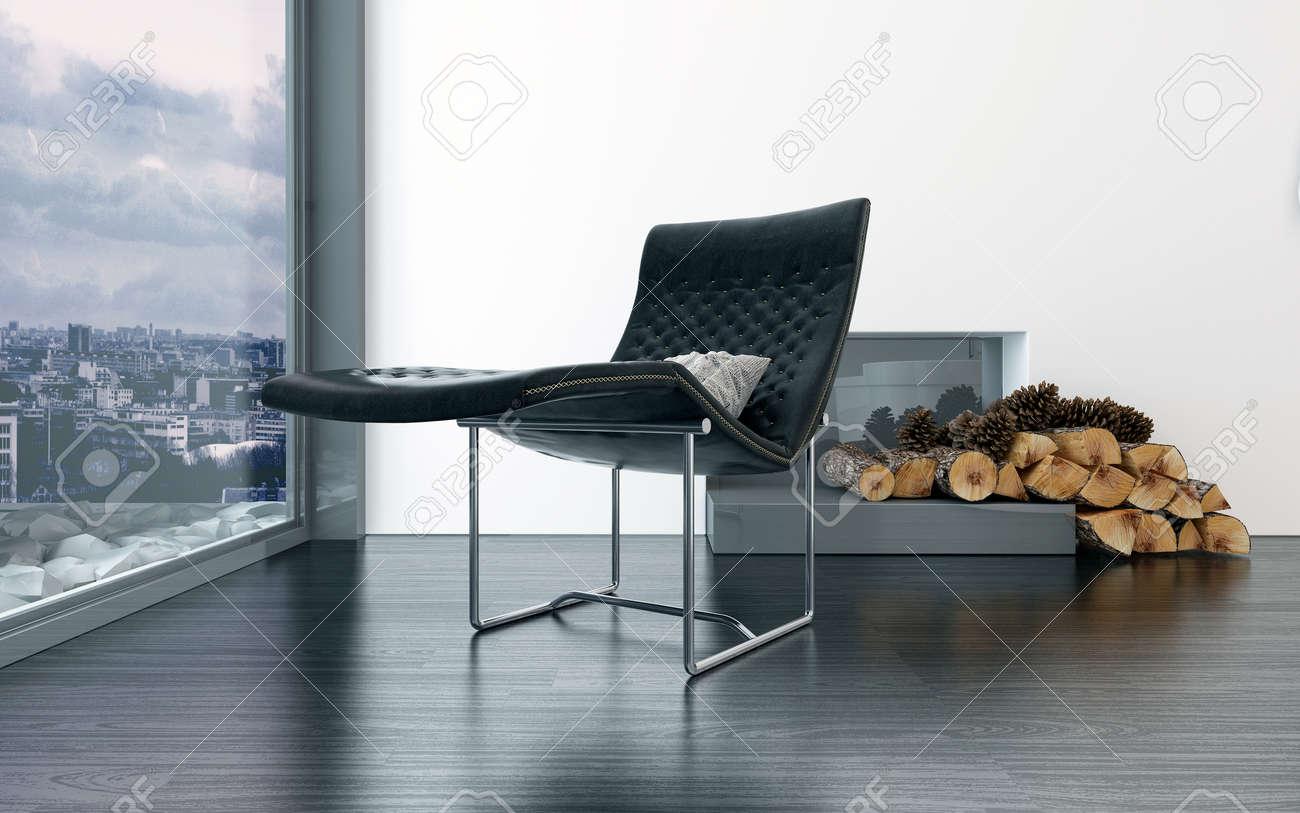 Chaise Longue Confortable En Cuir Noir Devant La Cheminee Avec Des