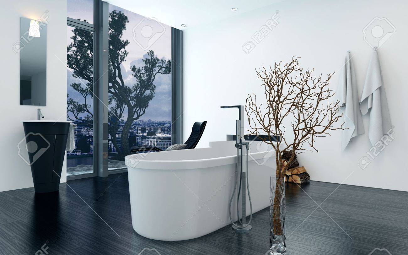 Modern Design Bathroom Interior With A Luxury Freestanding Bathtub. Concept  For Lifestyle And Luxury Living