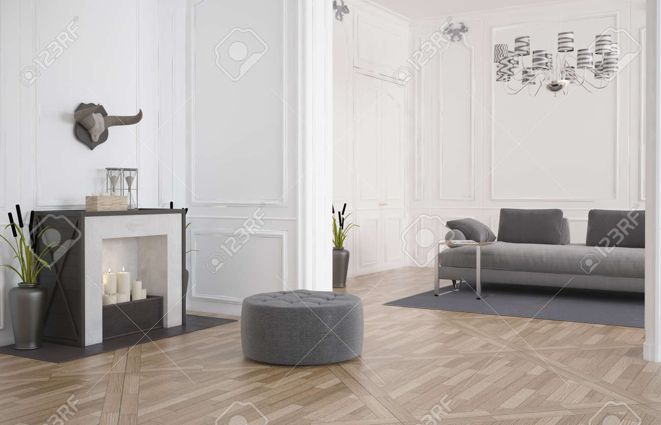 3d Render Of A Minimalist Modern Living Room Interior With A Circular Seat  In Front Of