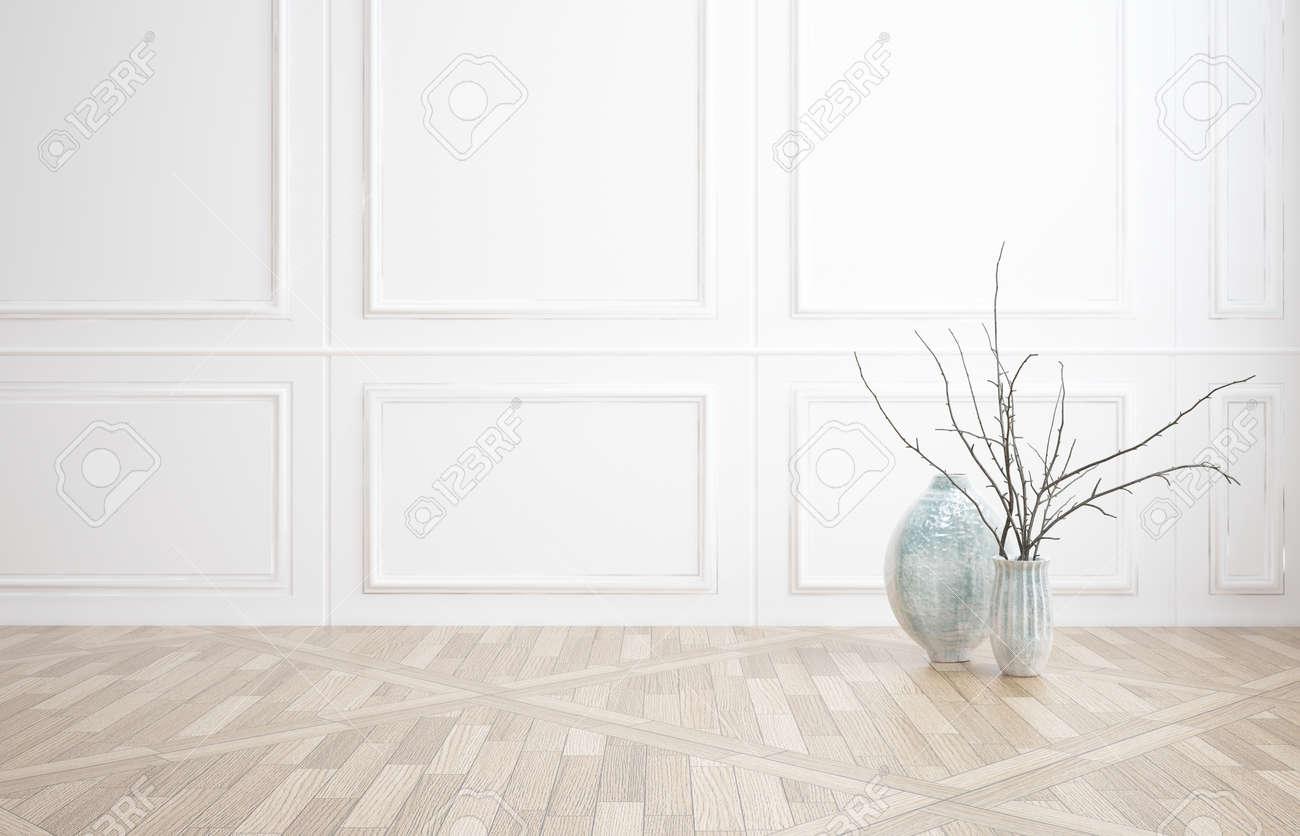 banque dimages dcoration dintrieur fond dune pice vide nu avec lambris blanc classique en bois et un parquet en bois avec deux vases en verre et