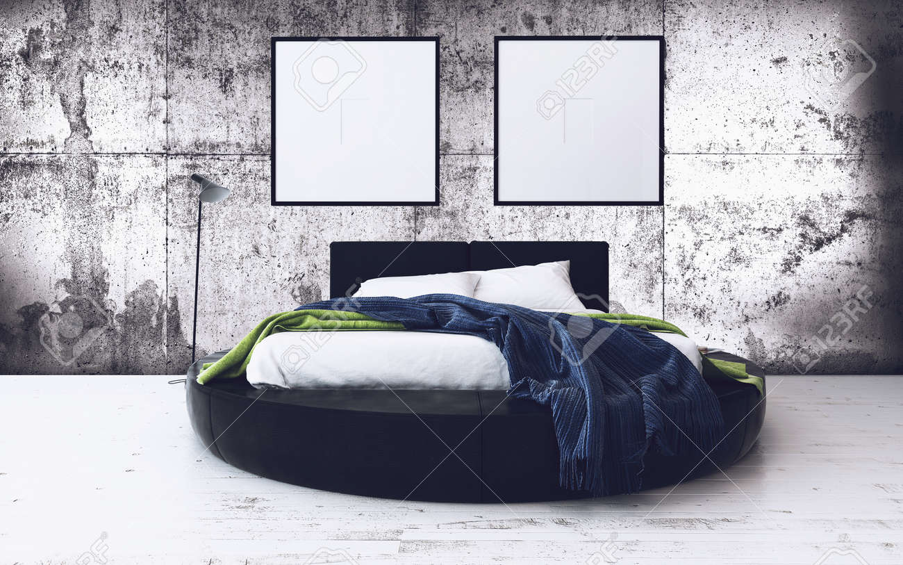 Round Bed And Minimalist Framed Artwork In Modern Loft Bedroom