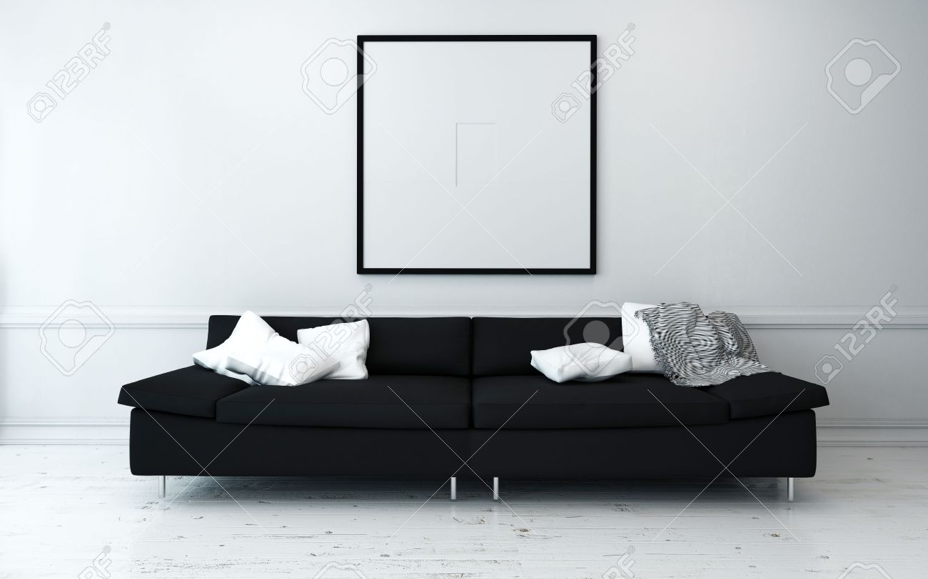 Living Room Black Sofa Black Sofa With White Cushions In Sparsely Decorated Modern Living
