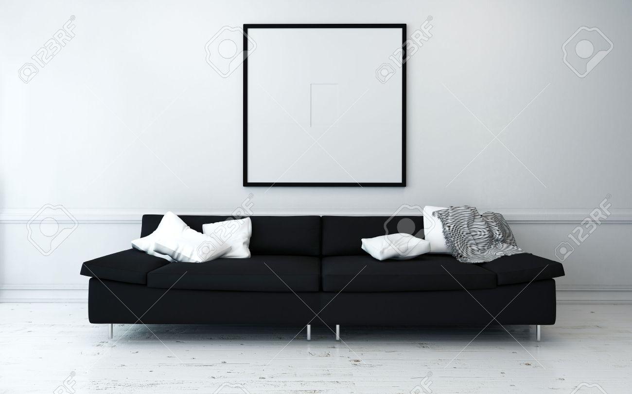 banque dimages noir canap avec coussins blancs dans sobrement dcores salon moderne avec loeuvre minimaliste wall - Canape L