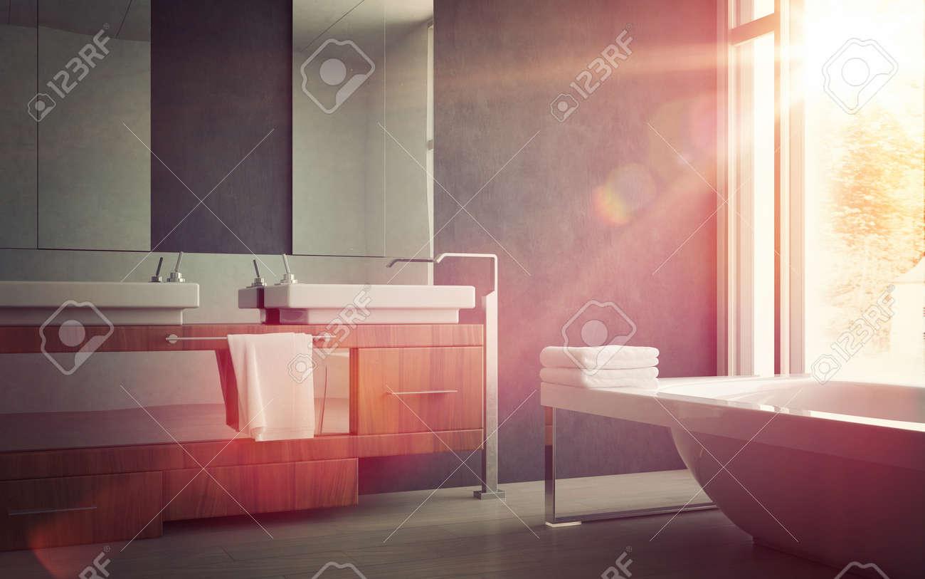Vier élégant et Baignoire l\'intérieur d\'une maison moderne Salle de bain  Design, Illumination par Sunlight par la fenêtre en verre.
