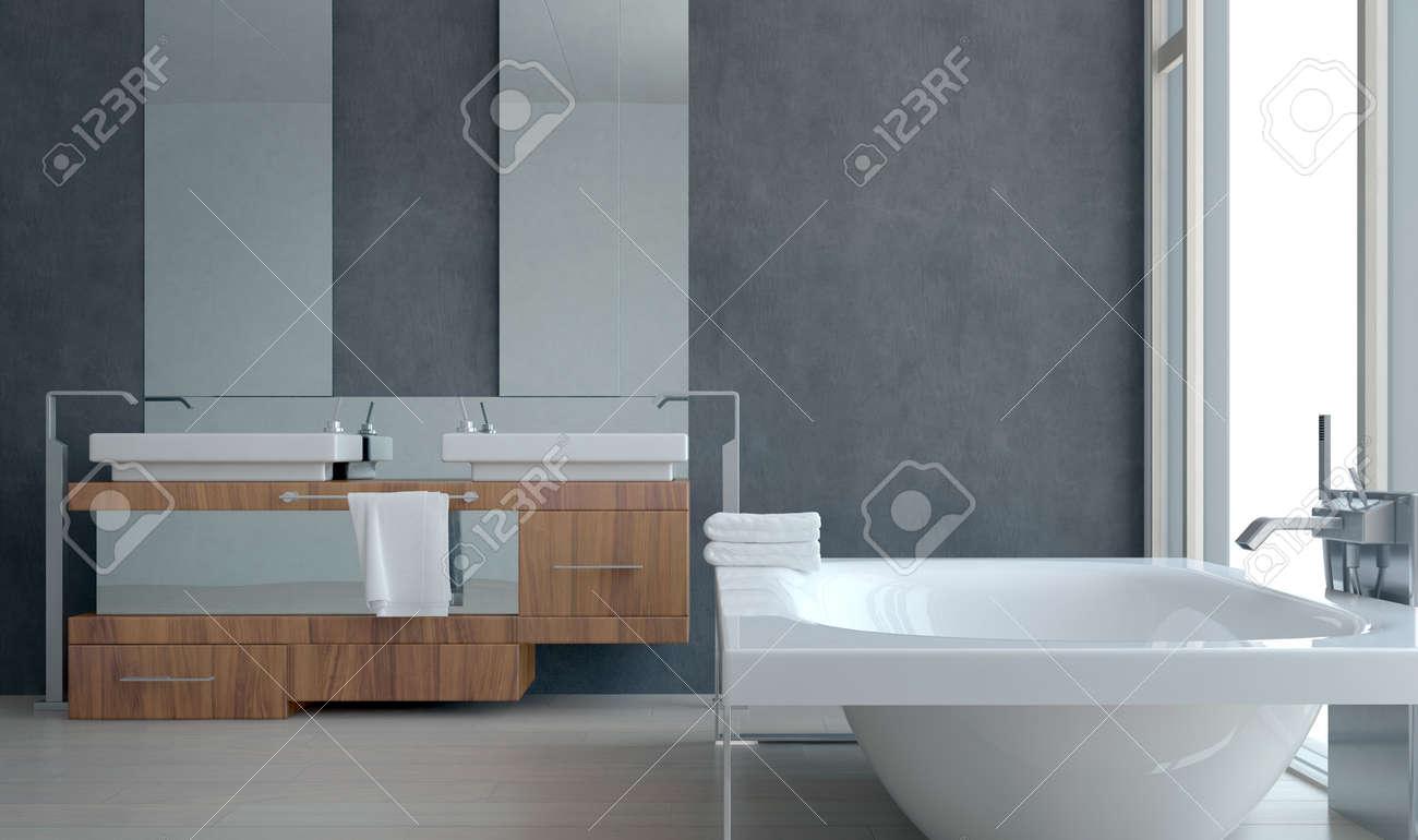 Diseño de interiores simple de un moderno cuarto de baño con bañera