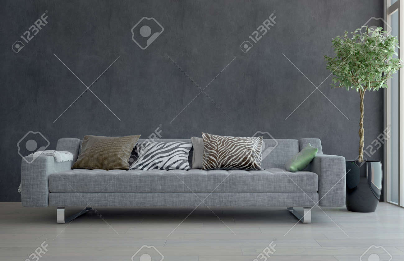 Contemporain Gris Canapé avec Animal Print Coussins en sobrement décorées  salon avec Plante en pot