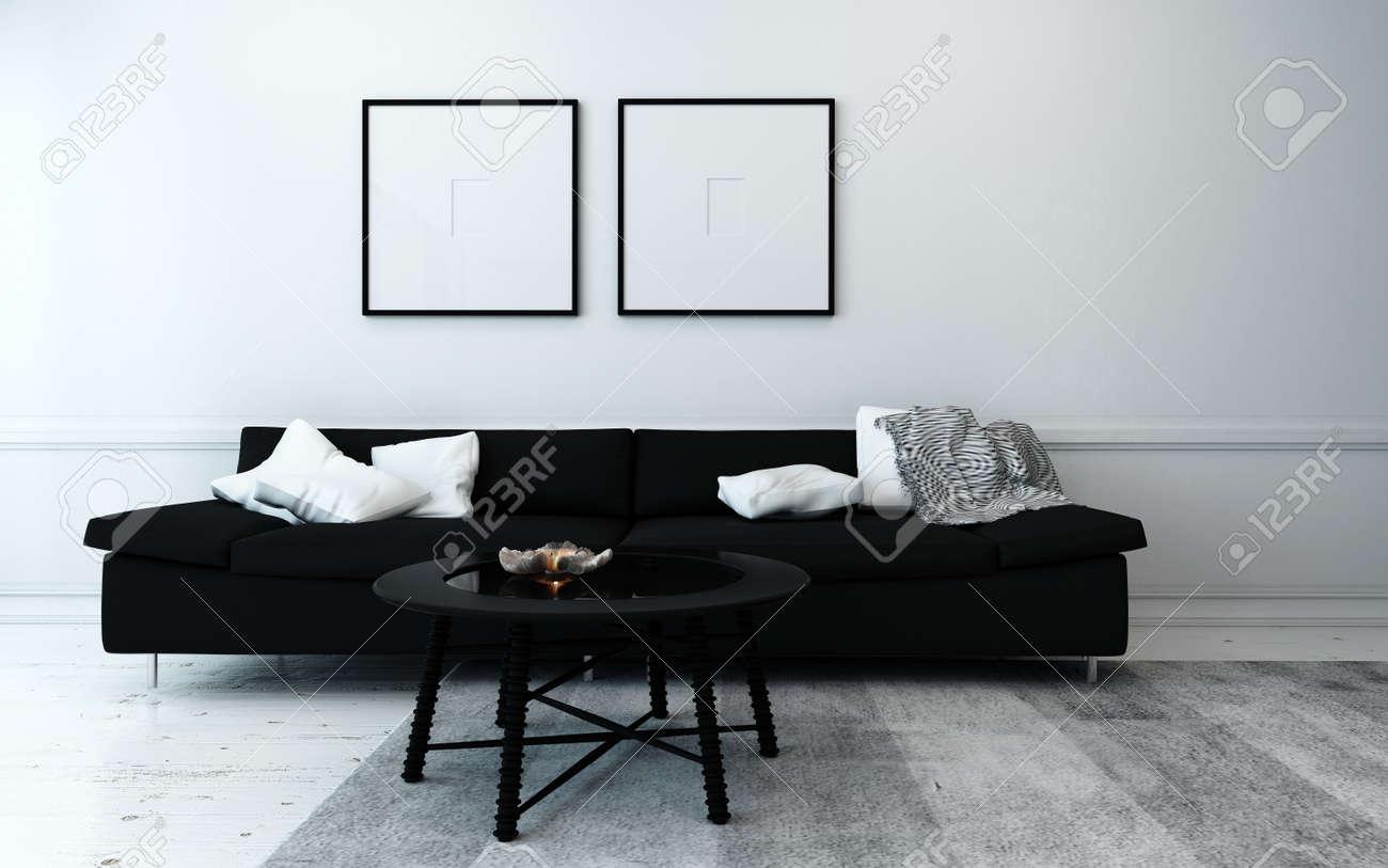 Sobrement Decorees Moderne Salle De Sejour Avec Canape Noir Table Basse Et Artwork Hanging Wall Avec Decor Blanc Accents