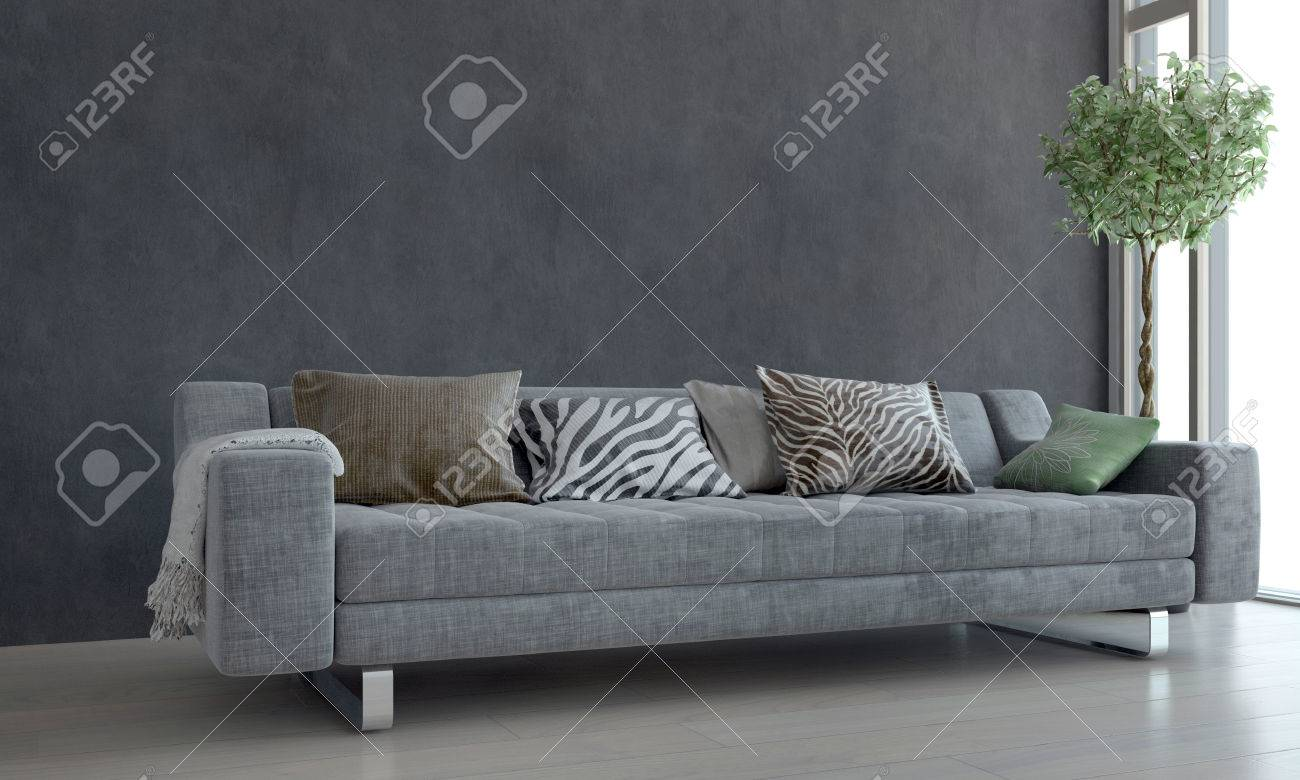 Contemporary Gray Sofa With Animal Print Cushions And Potted Plant Next To  Bright Window In Modern