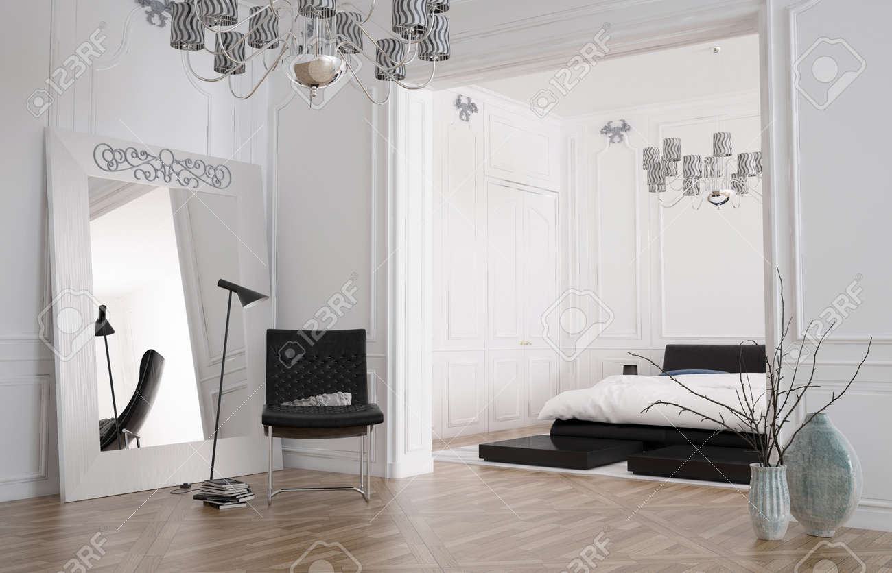 Minimalist Spacious Bedroom Interior With Large Mirror Standing