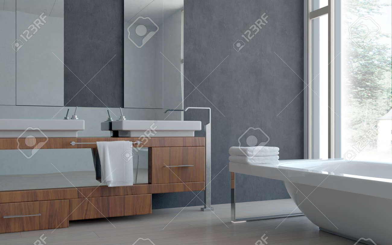 3D moderne Architectural Accueil Salle de bains design d\'intérieur avec  double lavabo et baignoire