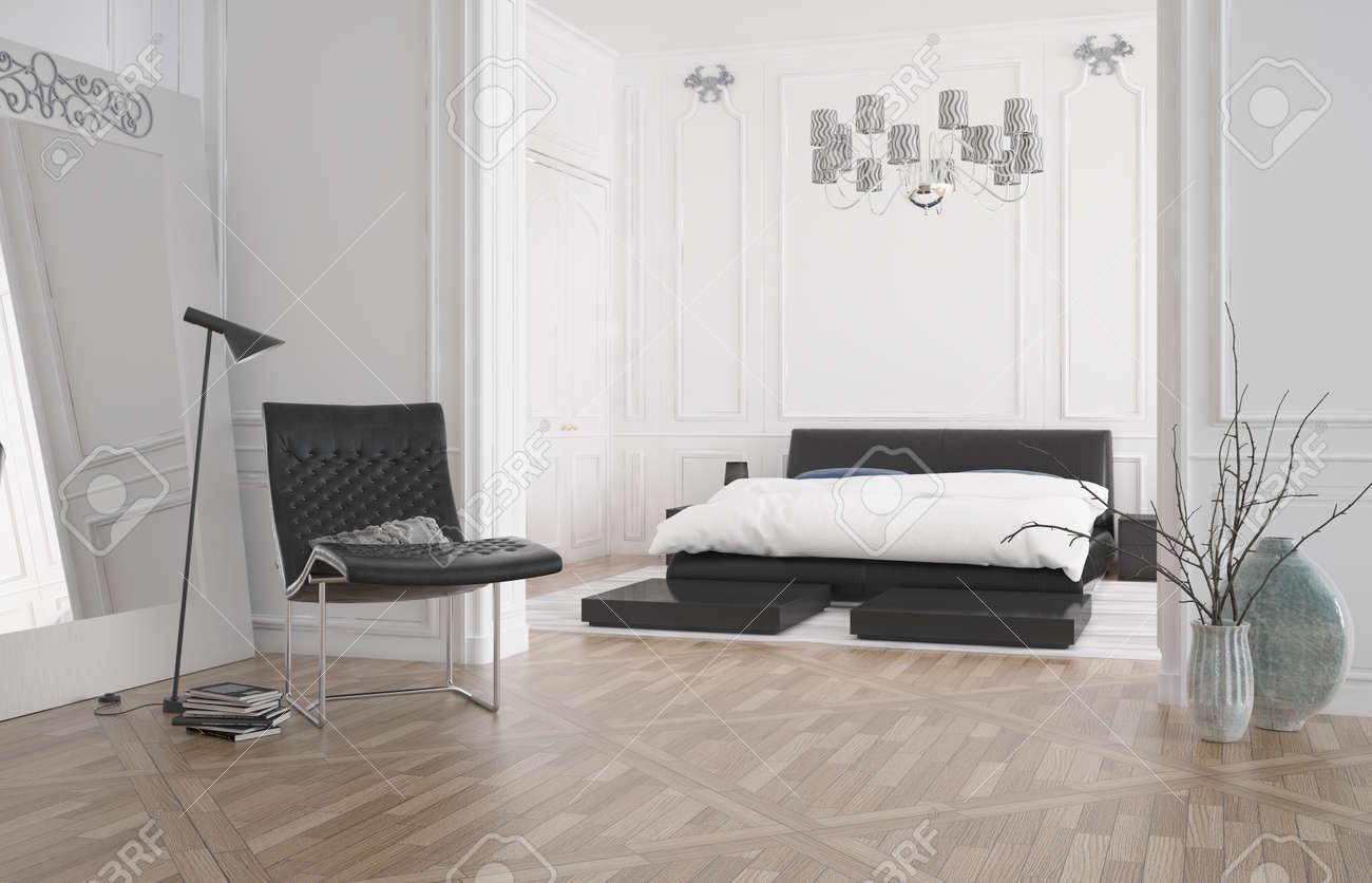 Intérieur de la chambre moderne avec grand lit double encastré ...