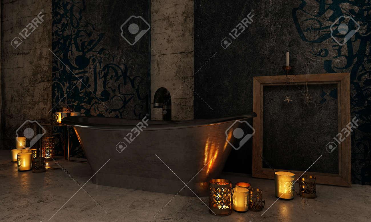 Vasca Da Bagno Romantica Con Candele : Bagno interno depoca con candele accese illuminando loscurità e si