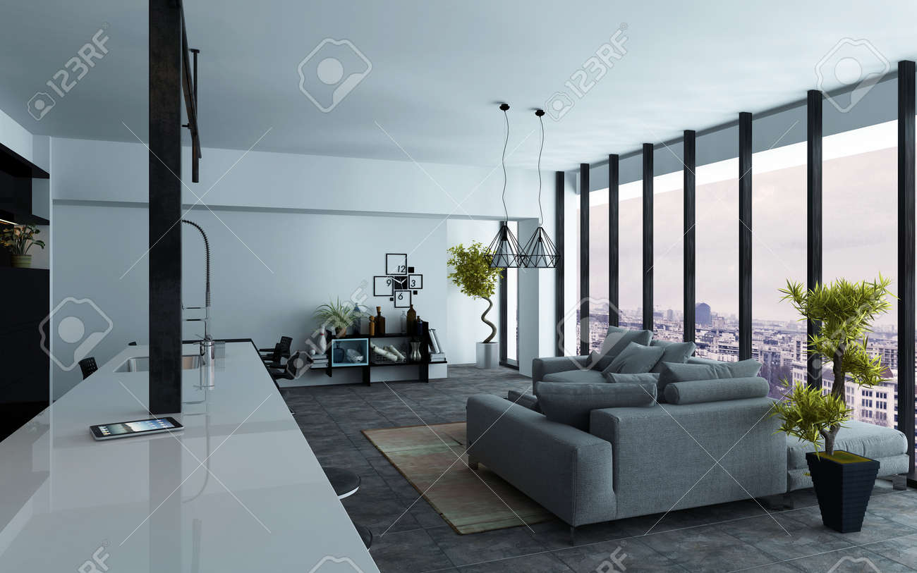 Large Open-plan Living Room Interior With Panoramic View Windows ...