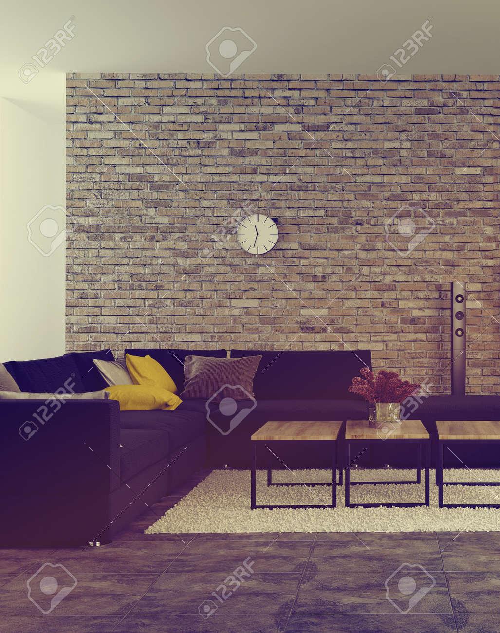 Salon Moderne Inter Avec Mur De Briques Accent Et Une Suite De Coin ...