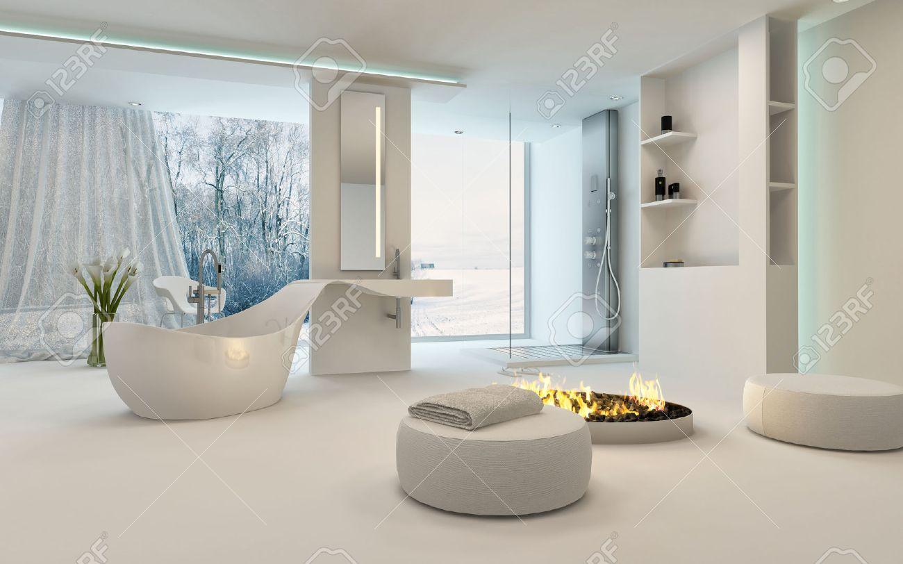 Modern Design Bathroom Interior With Unusual Shaped Bathtub, Shower, A Cozy  Warm Fireplace With