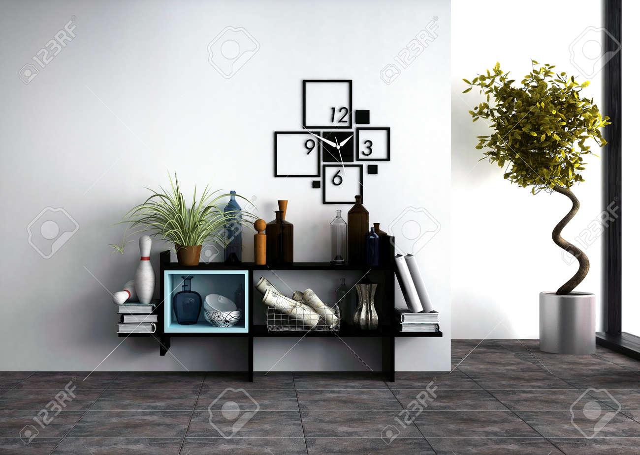 relojes de pared estantes montados en la pared con efectos personales y un reloj de