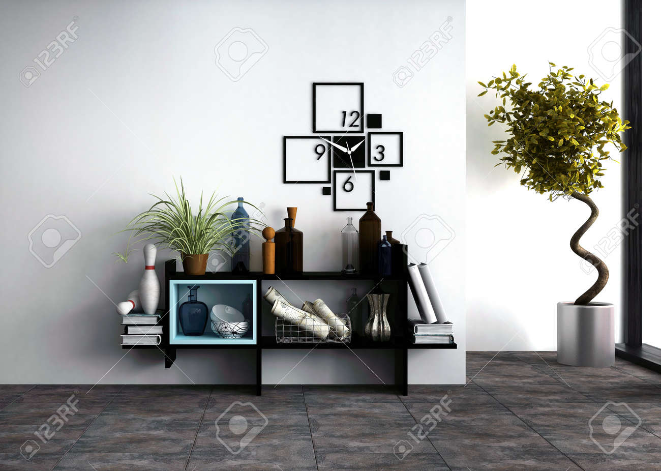 wall-mounted shelves with personal effects and a designer clock