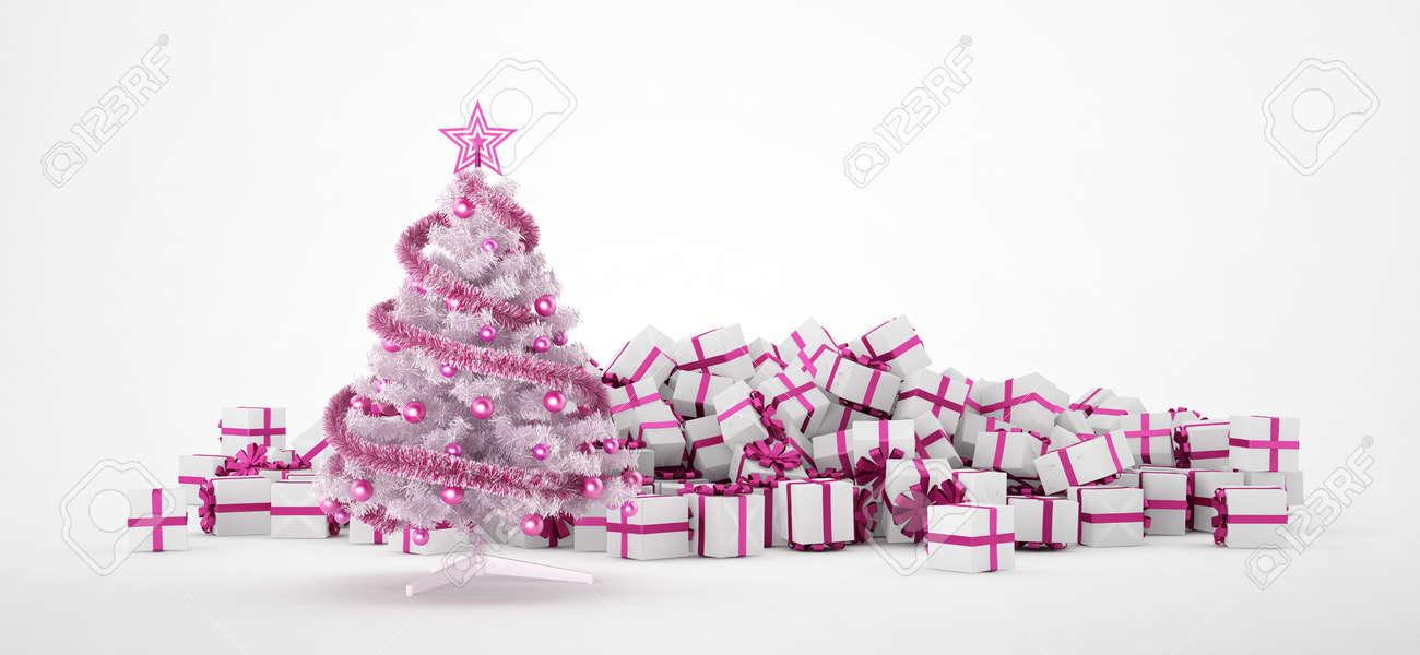 Pink Christmas Lights.Pile Of White And Pink Christmas Presents And Christmas Tree