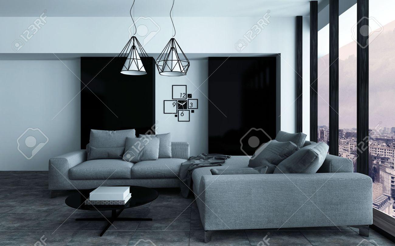 Gezellige hoek in een moderne woonkamer of woonkamer interieur met ...