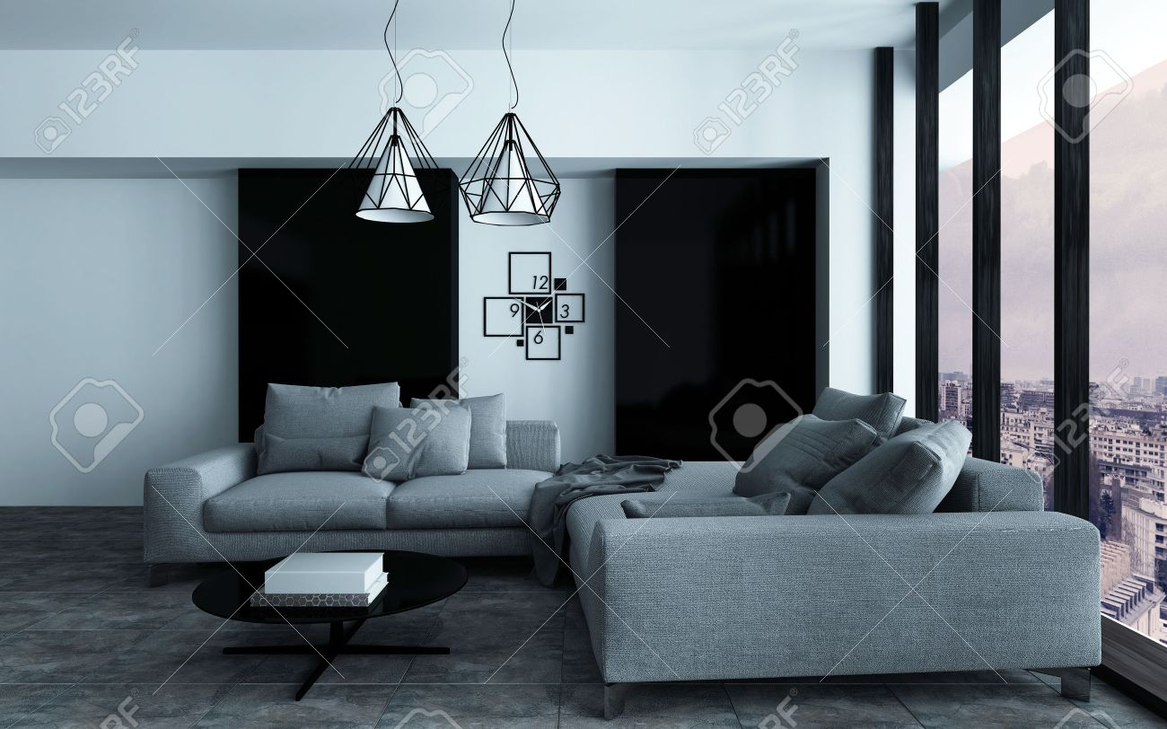 Cozy corner in a modern sitting room or living room interior with grey sofas against a wall with black accents in front of a large view window. 3d Rendering. Standard-Bild - 46059627