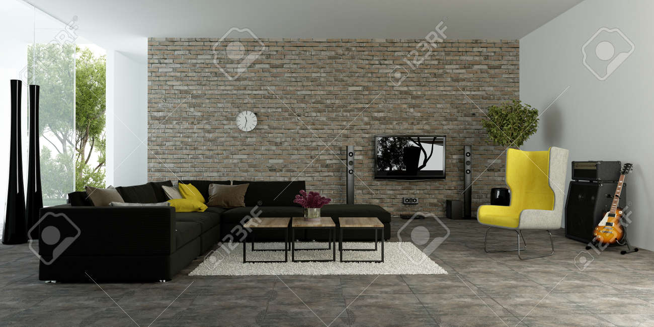 Large modern living room with textured accent wall to resemble..