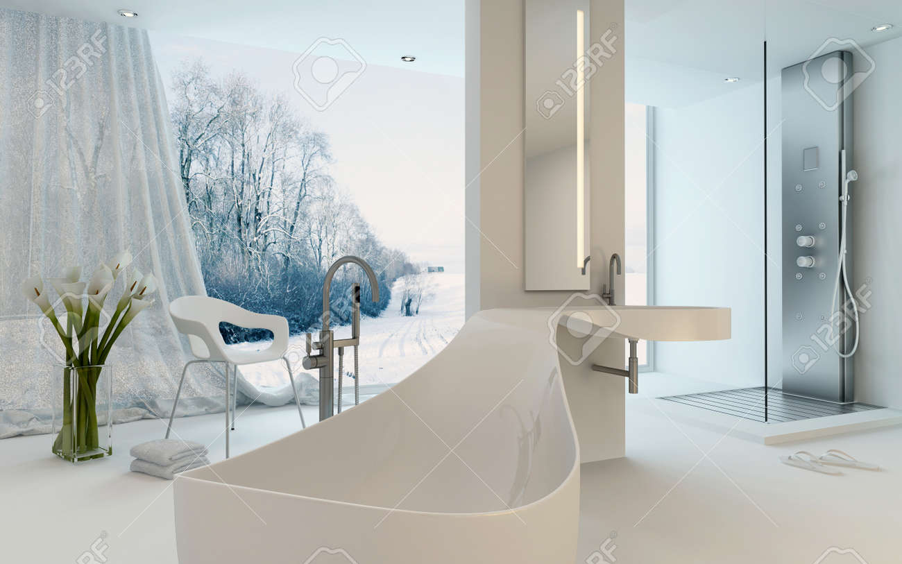 Ultra intérieur de salle de bains design moderne avec inhabituelle en forme  de baignoire, douche et fenêtre du sol au plafond avec vue sur le paysage  ...