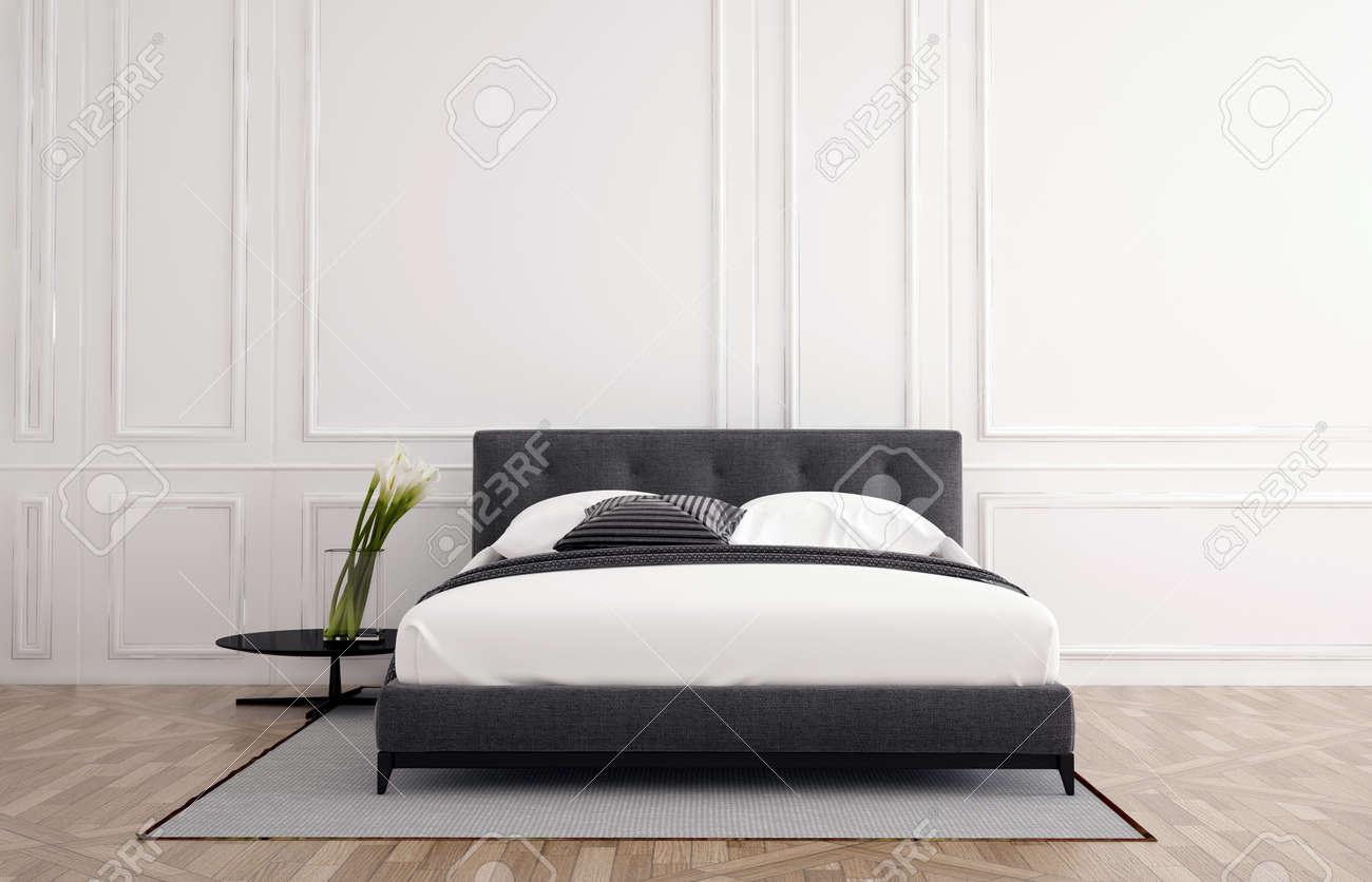 intérieur de la chambre minimaliste et élégant avec du blanc lambris