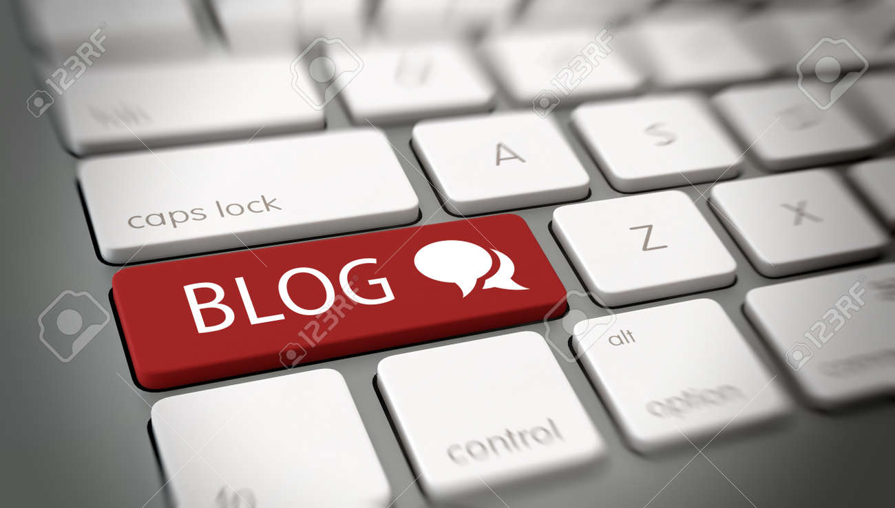 Online blog or blogging concept with a red enter button on a white computer keyboard with the word - Blog - and a chat icon , close up high angle view with blur vignette. 3d Rendering. Standard-Bild - 46059640