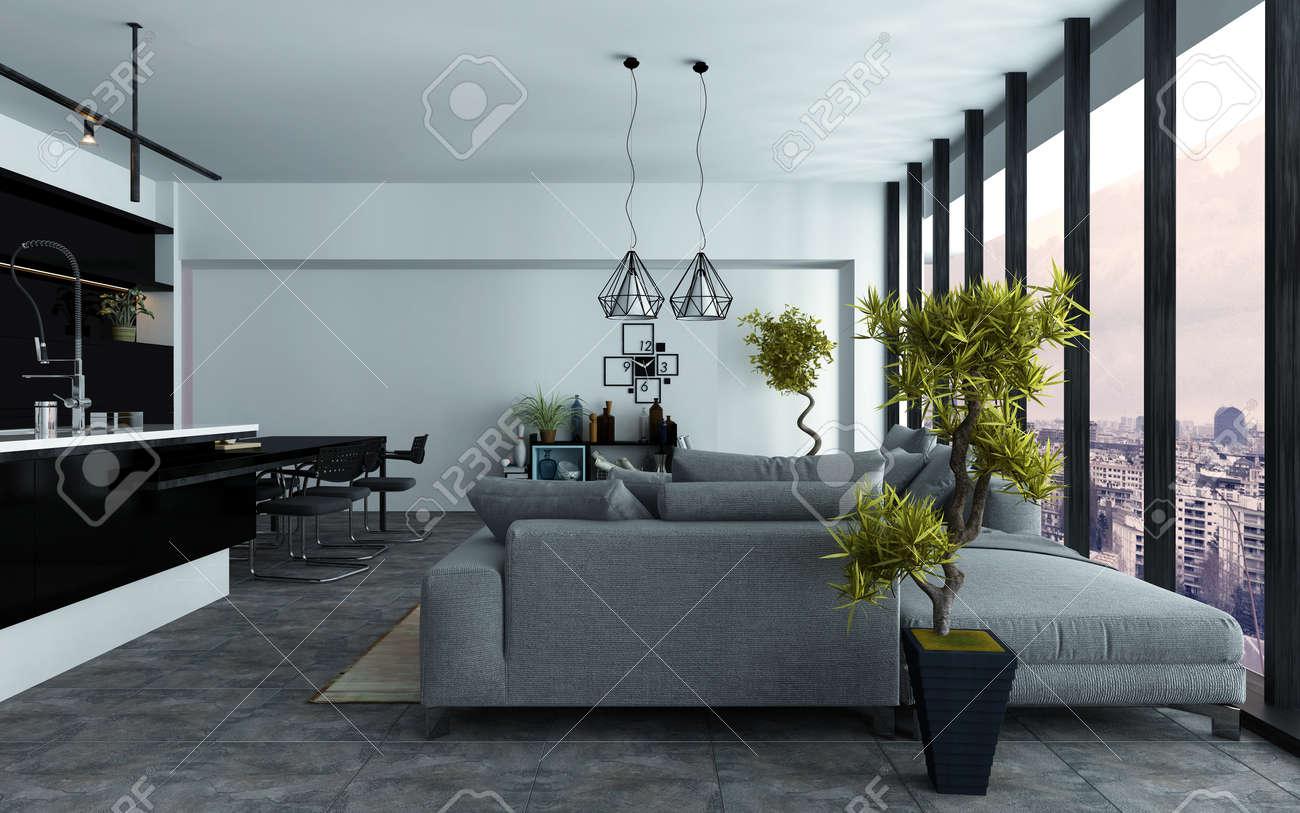 Moderne et spacieux décloisonné salon avec cuisine à l\'américaine et  canapés gris confortables dans deux aires de repos en face de fenêtres ...
