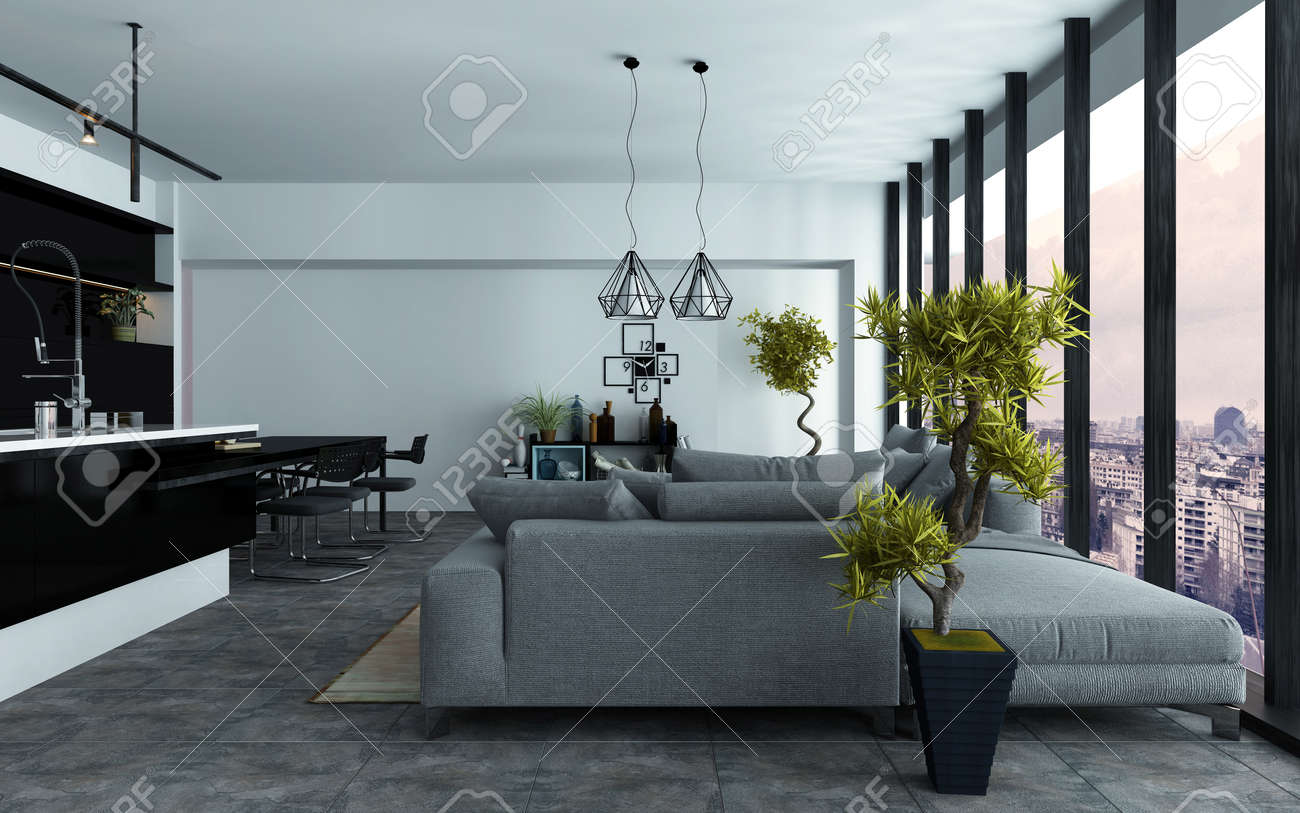 Spacious modern open-plan living room with a built in kitchen and comfortable grey couches in two seating areas in front of panoramic view windows, 3d rendering Standard-Bild - 46059650
