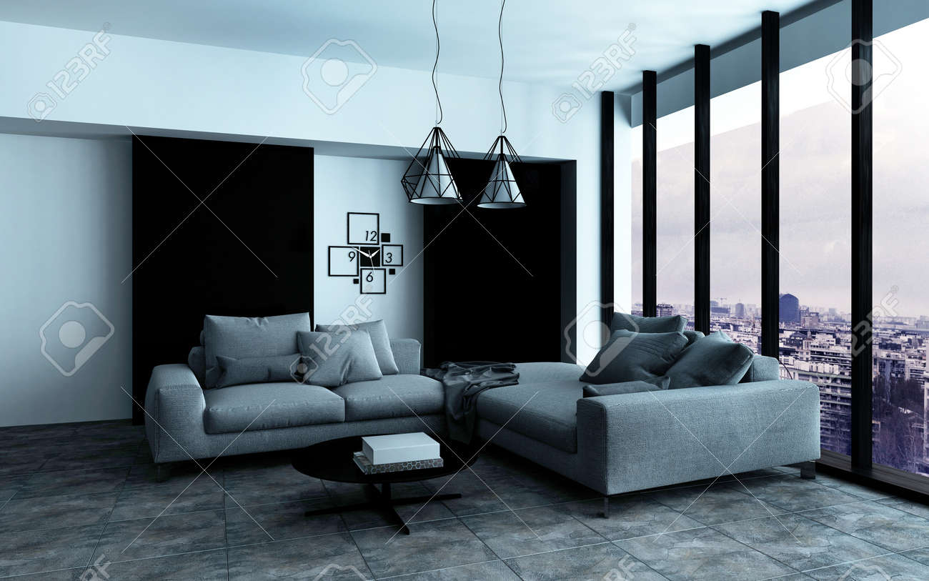 Coin confortable dans un spacieux salon intérieur moderne avec des ...