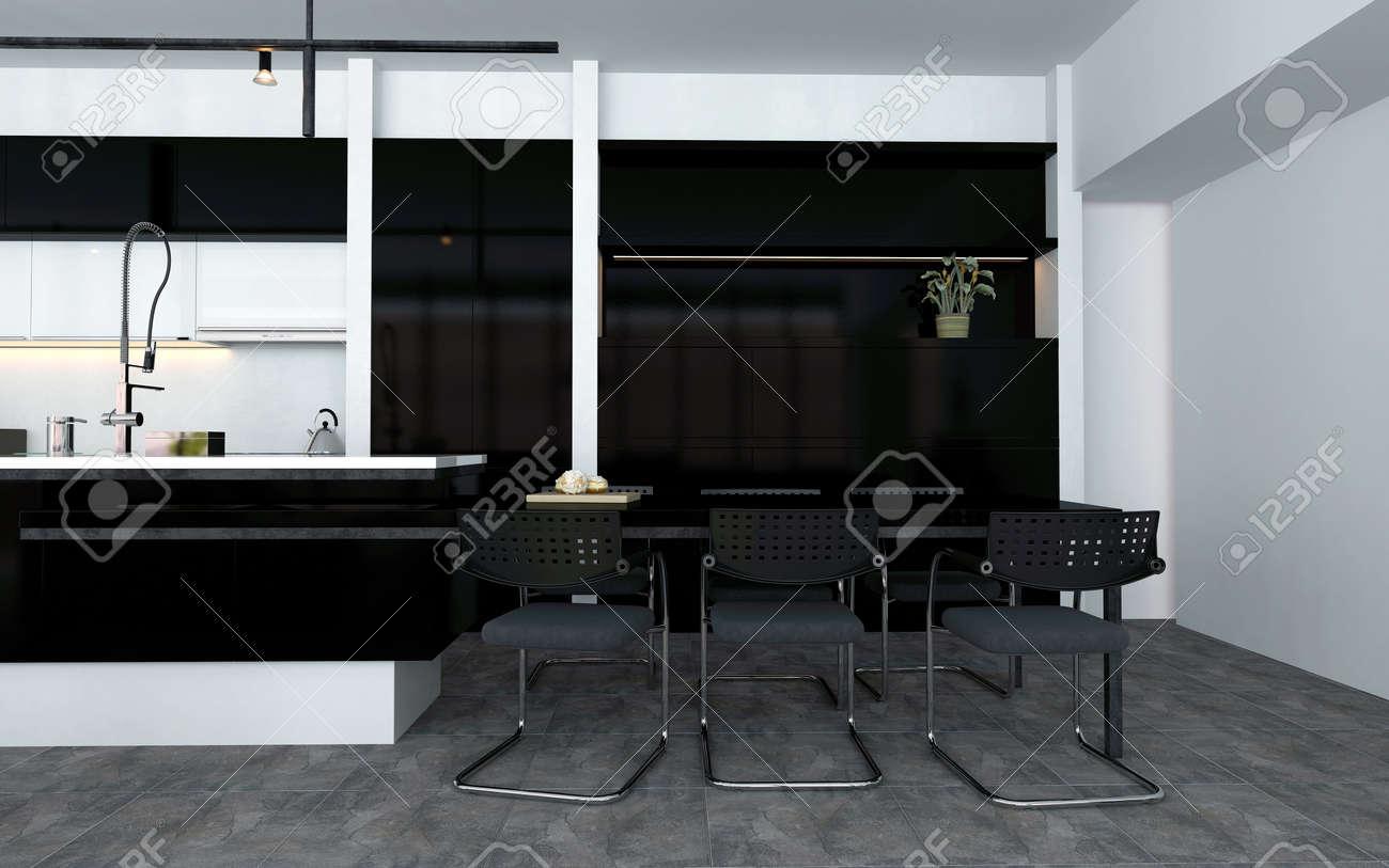Offene Küche Mit Einbaugeräten Und Eine Bar Mit Zeitgenössischen ...