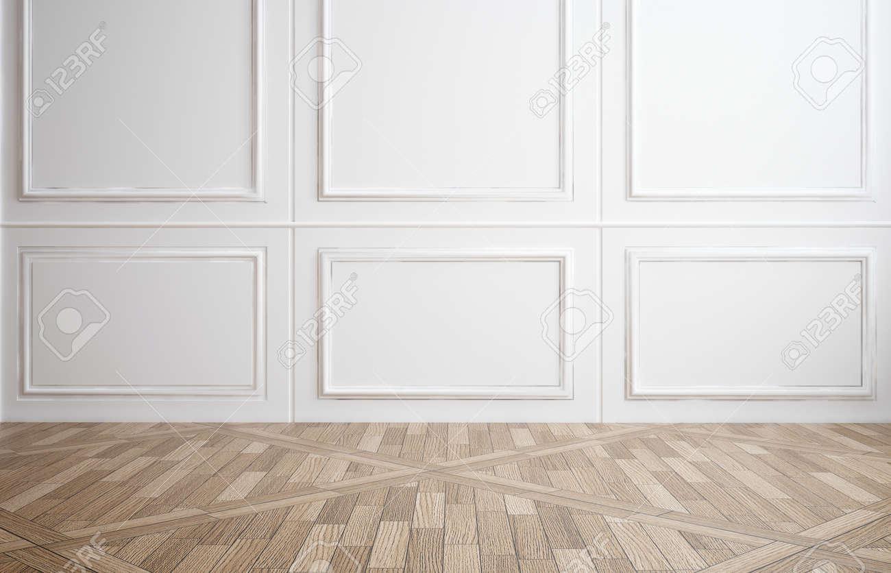 Salle vide avec blanc classique boiseries sur les murs et un ...