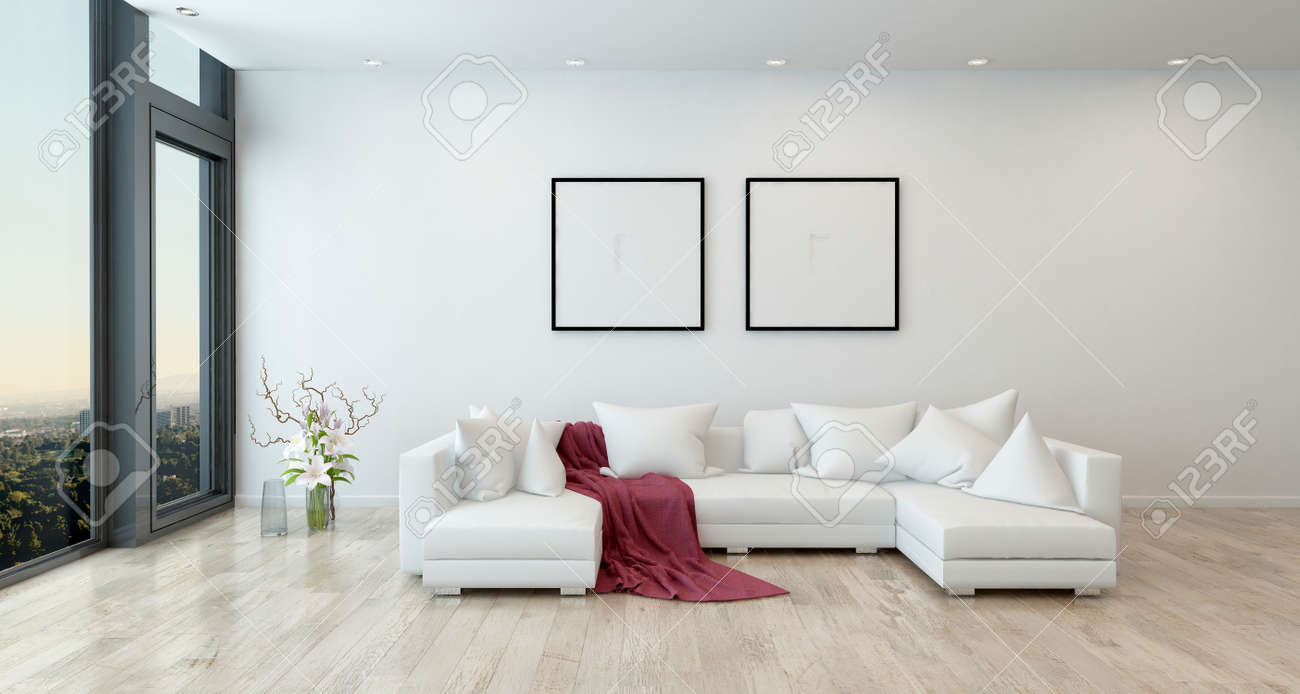 Architectural Interior Of Open Concept Apartment In High Rise Condo   Red  Throw Blanket On White