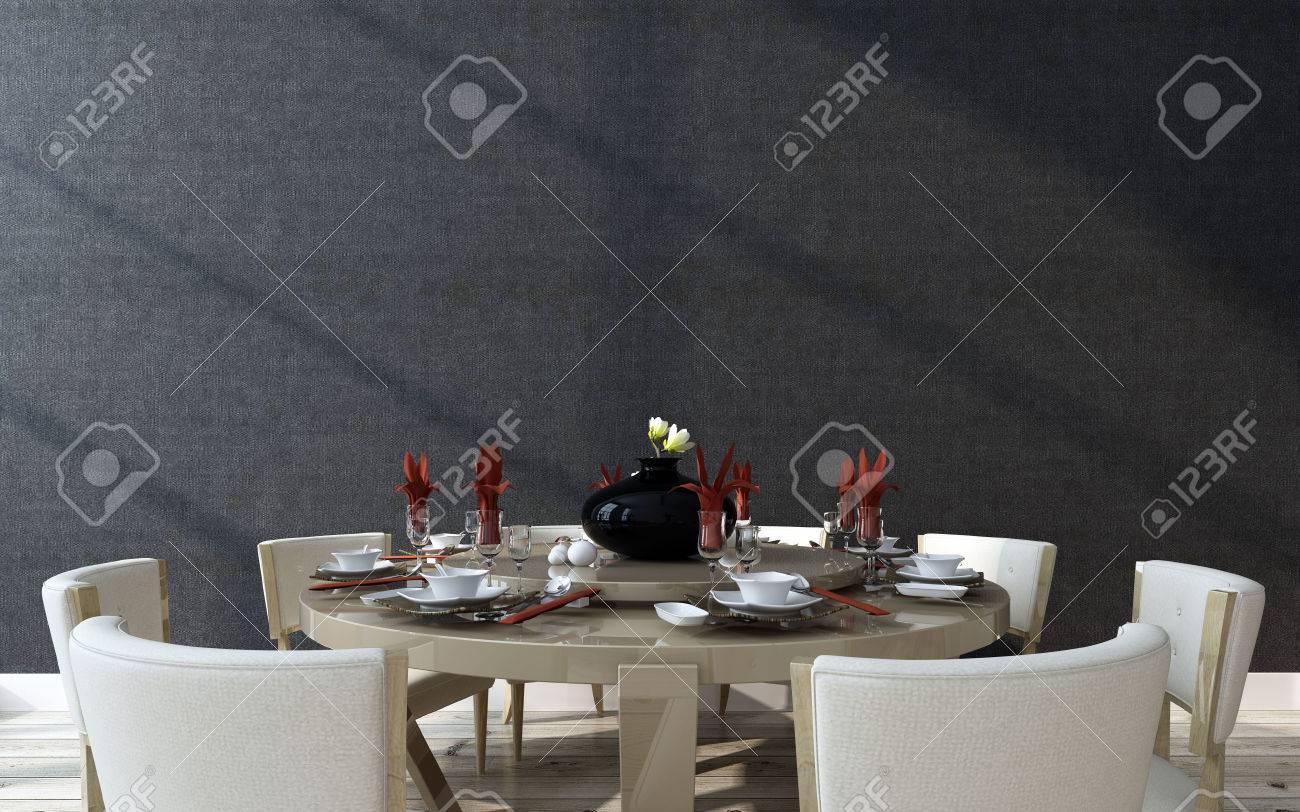 Stilvolle Formale Runden Tisch Mit Einem Modernen Design Essbereich ...