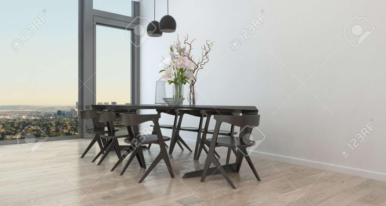 Table Et Chaises Dans Les Régions Peu Manger Décorée Dans High Rise  Condominium Bâtiment   Intérieur Architectural De Salle à Manger  Contemporaine Avec ...