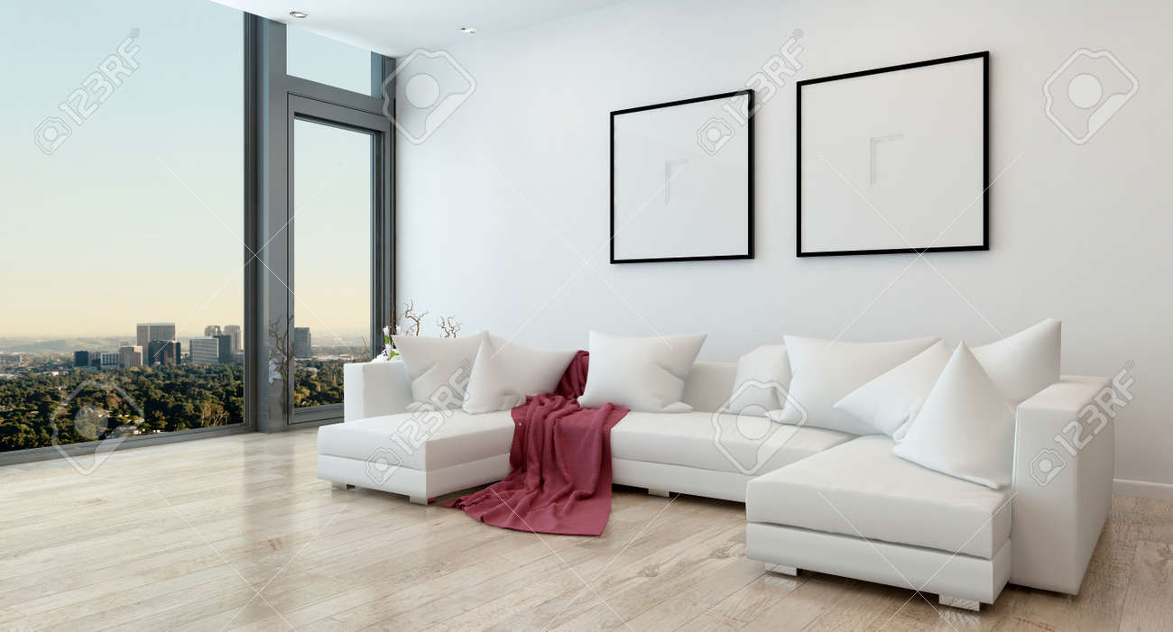 Architectural interior of offenes konzept apartment in high rise