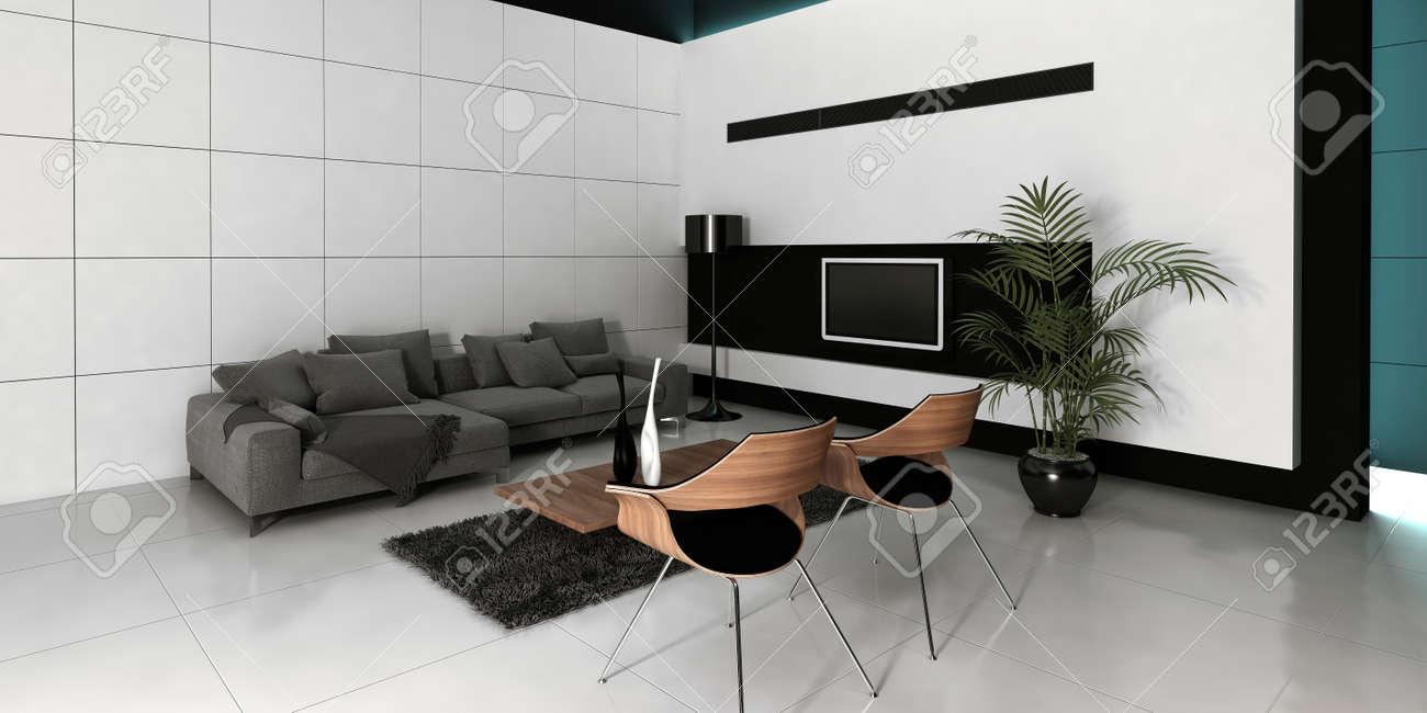 Modernes Design Schwarz Weiß Stil Wohnzimmer Innenraum Mit Grauen Couch  Gegen Die Weiße Wand
