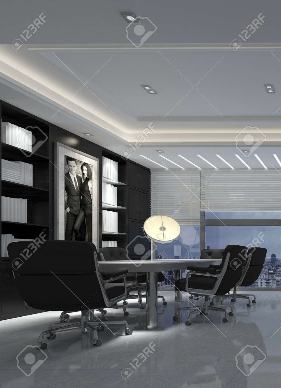 Modern black and white dining room - 3d Render Of A Modern Black And White Dining Room Interior Decor In A Luxury Urban