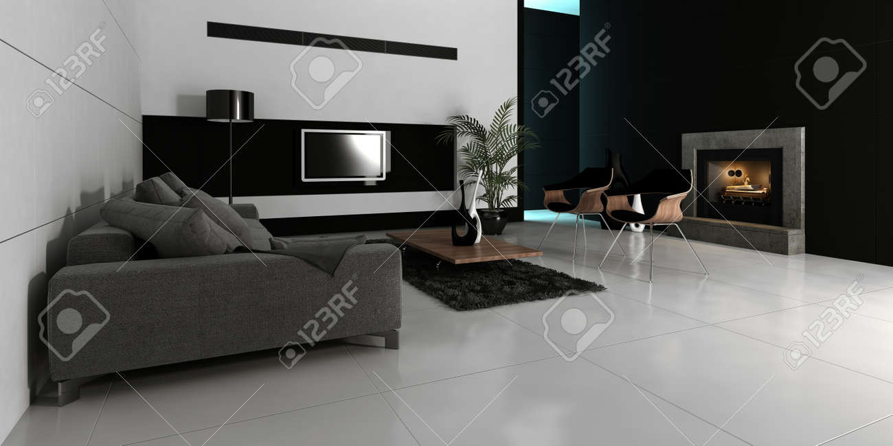 Noir De Design Moderne Et Blanc Style Salon Interieur Avec Un Canape Gris Contre Le Mur Blanc Rendu 3d